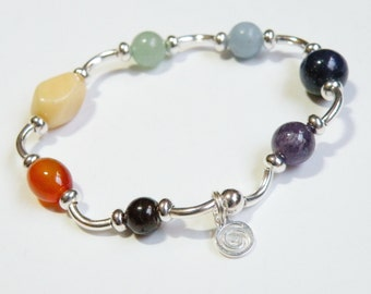 Silver Curves Chakra Bracelet with natural gemstones *FREE SHIPPING USA* 314.4