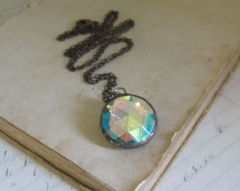 Aurora Borealis Mirrored Iridescent Faceted Glass Long Necklace