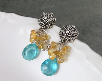 Sea Urchin earrings, handmade apatite, citrine, sterling silver earrings -Seaside post earrings