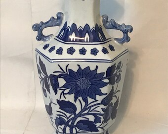 Blue & White Floral Chinoiserie Vase with Handles