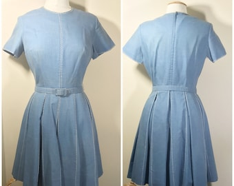 1950s Vintage Cotton Blue Chambray Day Dress with White Stitching Design // 50s Blue Dress, Full Pleated Skirt