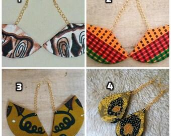 Ankara/Kente Fabric Earrings, African Fan earrings, Ankara Fabric