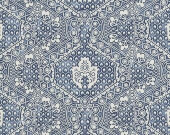 RALPH LAUREN HOME Ethnic Chic Avignon Batik Cotton Fabric 10 Yards Porcelain Blue