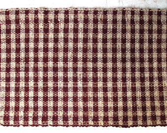 Wool Rug Cranberry Red Check Pattern SHIPPING INCLUDED