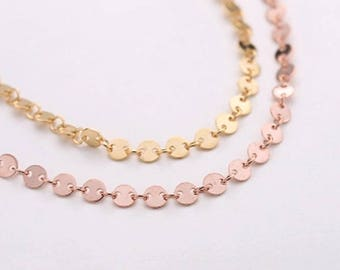 10CM 925 Sterling Silver Disk Chain 4MM Flat Round Circular Coin Disk Gold Plated Circles Coin Chain - Coin Loose Chain - Gold/ Silver/ Rose