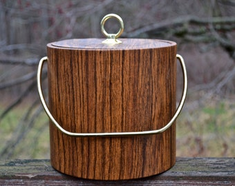 Mid Century Ice Bucket.  1950s Vinyl Faux Bois Wood Grain Ice Bucket with Matching Lid.  - VHW16