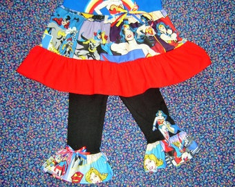 Wonder Woman Boutique Girls Outfit 2T - 7/8 Super Hero, Bat Girl and Super Girl, Top and Leggings