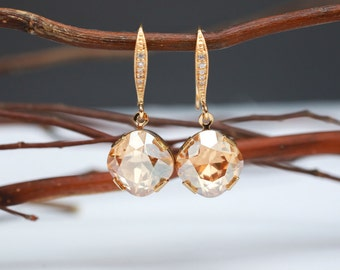 Bridesmaid Jewelry Crystal Golden Shadow Earrings in Gold