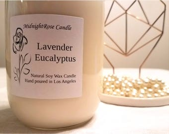 Lavender Eucalyptus Candle - Scented Candle - Container Candle - Hand poured Natural Soy Wax - Mason Jar Candle (8 oz & 16 oz)