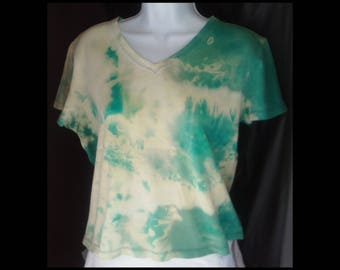 Acid washed ladies large shirt baby doll blouse tee bleached acid wash blue ocean sky cerulean arctic sapphire jade t-shirt (shirt no. 152)