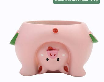 Upside Down PIg Flower Pot Cartoon Adorable Pet Succulent Animal Planter Home Decor