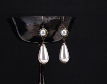 Princess Louise pearl earrings bronze, Renaissance earrings, Victorian earrings, pearl Renaissance jewelry, pearl Victorian jewelry, fantasy