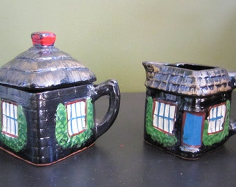 Vintage English Cottage Figural Creamer and Sugar Bowl Set