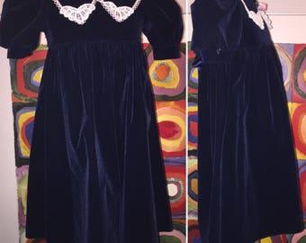 Jo Lene Velvet Blue Party Wedding Formal Special Occasion Dress Size 5