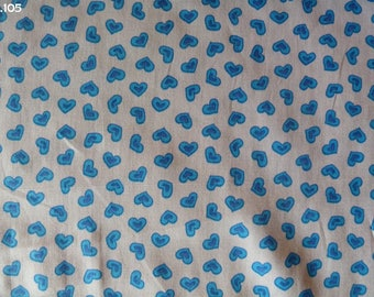 Fabric R105 coupon blue hearts 35x50cm