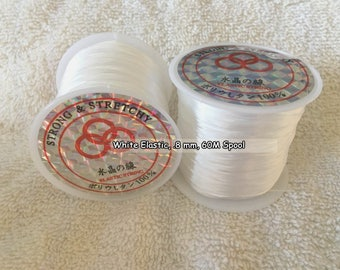Elastic Cord, .8 mm, 60 Meter Spool, White  (100-2018)