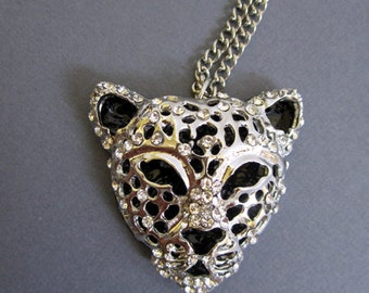 SALE - Rhodium plated Leopard head Necklace with CZ accents. Long necklace, large pendant long silver necklace