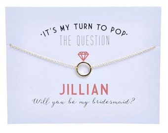 Gold - Bridesmaid Card - Bridesmaid Proposal - Ask Bridesmaid - Pop the question - Bridesmaid Gift -Charm Necklace