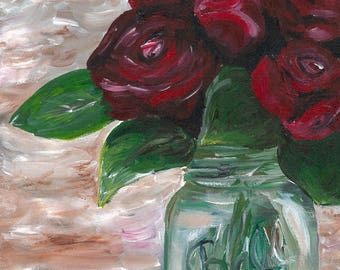 Rose art print, Rose in mason jar print from original painting, rose decor, farmhouse style art, farmhouse prints, Mason Jar Art Print