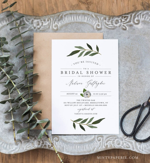 Greenery Bridal Shower Invitation Template, INSTANT DOWNLOAD, Self-Editing, Printable Couples Shower Invite, Boho, DIY, Templett #054-154BS