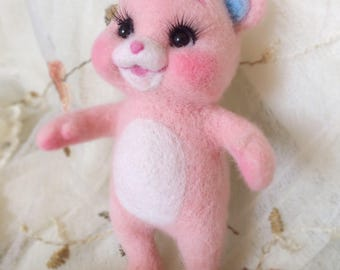 Handmade Needle Wool Felt Decoration Pink Bear