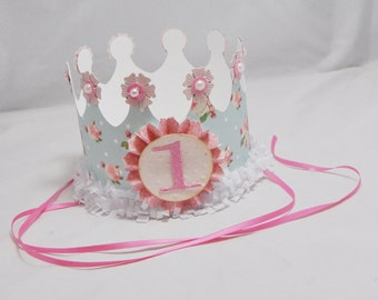 Blue Floral Crown- Girl 1st Birthday- Shabby Chic