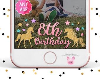 Snapchat GeoFilter, Unicorn Snapchat Filter, Unicorn Filter, Unicorn Birthday Party, Gold Unicorn, Glitter Unicorn, Birthday Snapchat Filter