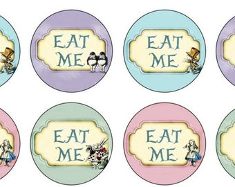 EDIBLE Eat Me Alice in Wonderland Wafer or ICING Cupcake Toppers