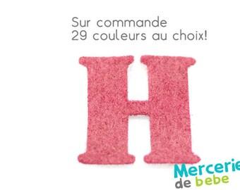 """Letter """"H"""" alphabet in felt - 29 color choices - 2.5 cm x 2.5 cm"""