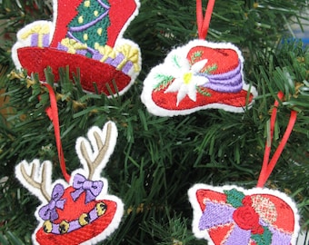 Red Hat Christmas Ornament Set of 4