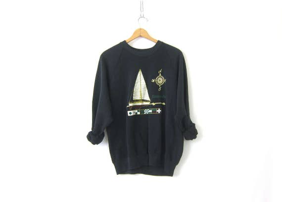 Black Sailboat Sweatshirt Raglan Sleeves vintage Ensenada souvenir Preppy crewneck Novelty pullover Compass Boat DES Size Medium Large