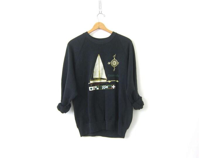 Black Sailboat Sweatshirt Raglan Sleeves vintage Ensenada souvenir Preppy crewneck Novelty pullover Compass Boat DES Size Medium Large
