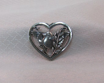 c1940's Coro Sterling Dove and Heart Brooch