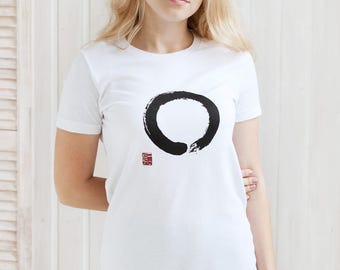 Japanese T Shirt - Enso Circle - Japan Calligraphy Buddhism Yoga Zen Ensou Positive Motivational Printed Women's Tee or Tank Top Vest Cami