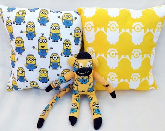 Minions gift set, despicable me, minions cushion, minions sock monkey, yellow and blue, geek gift set, kids gift idea, minions, character
