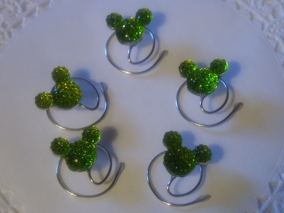 Disney Wedding-Hair Swirls- MOUSE EARS Hair Spins- Lime Green Acrylic