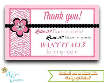 Pink Zebra Thank You Card, Direct Sales Marketing, Independant Consultant, Directs Sales Business Card
