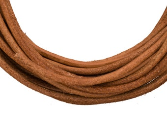 Full-grain leather cord, 2mm round natural brown 5 yard roll