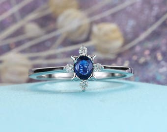 Alternative Oval cut Sapphire Engagement Ring 14K White Gold Diamond Wedding Women Bridal set jewelry Vintage unique Stacking personalized