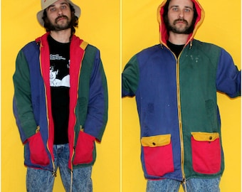 Color Block Hip Hop Jacket. 90s Hip Hop Clothing. Blue Green Yellow Hooded Jacket.Funky Hip Hop Style.Womens 90s Jacket. Cross Colours Style