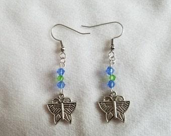 Blue & Green Butterfly Earrings