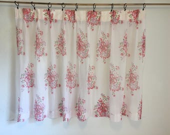 White and Pink Floral Sheer Curtain, Single Curtain, Short Curtain, Vintage Curtains, Vintage Drapery