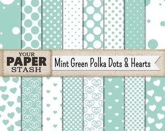 Mint Green Polka Dot Digital Paper Pack, Heart Scrapbook Paper for Baby Scrapbooking Pages, Wedding Invites, Planner Pages, Commercial Use