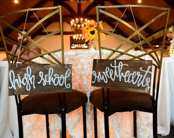 High School Sweethearts Wedding Sweetheart Table or Chair Signs Hand Painted Walnut with White Lettering Calligraphy