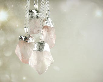 Large Raw Rose Quartz Necklace Pendant - Sterling Silver Rose Quartz Jewelry - Blush Pink Crystal Necklace - Rough Gemstone Jewelry