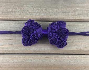 Purple Bow Headband, Purple newborn headband, purple rose bow headband, petite bow headband, headbands for girls, gift for baby girls