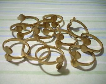 12 Vintage Adjustable Brass Ring Blanks with Double Glue Pads Jewelry Supplies