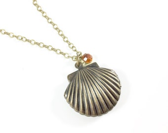 Shell Necklace, Shell Pendant Necklace, Locket Necklace Sea Shell Necklace Ocean Jewelry Nautical Jewelry Seashell Jewelry Beach Lovers Gift