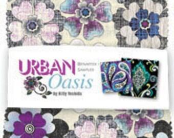"URBAN OASIS CHARM Pack, Quilt Fabric, Benartex, 5"" Charm Squares, Kitty Yoshida, Pre-Cuts, Sewing Material, Urban, Oasis, 42 Charms Per Pkg."