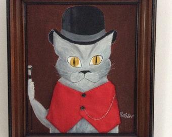LORD gatti vestiti. Quadro dipinto a mano.